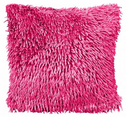 STYLISH CHENILLE SHAGGY PILE DESIGNER CUSHION FUSHIA HOT PINK COLOUR